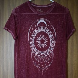 LOL Vintage Red Burn-out Moon Phase Shirt M